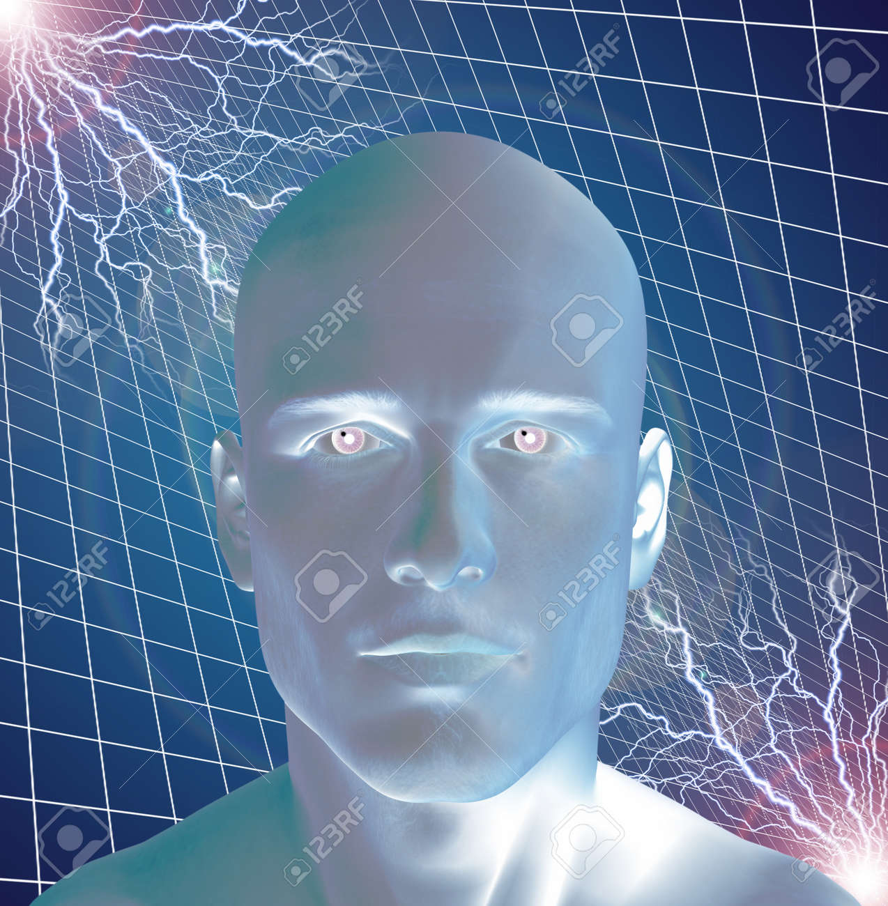 Man surreal with electricty Stock Photo - 20167976