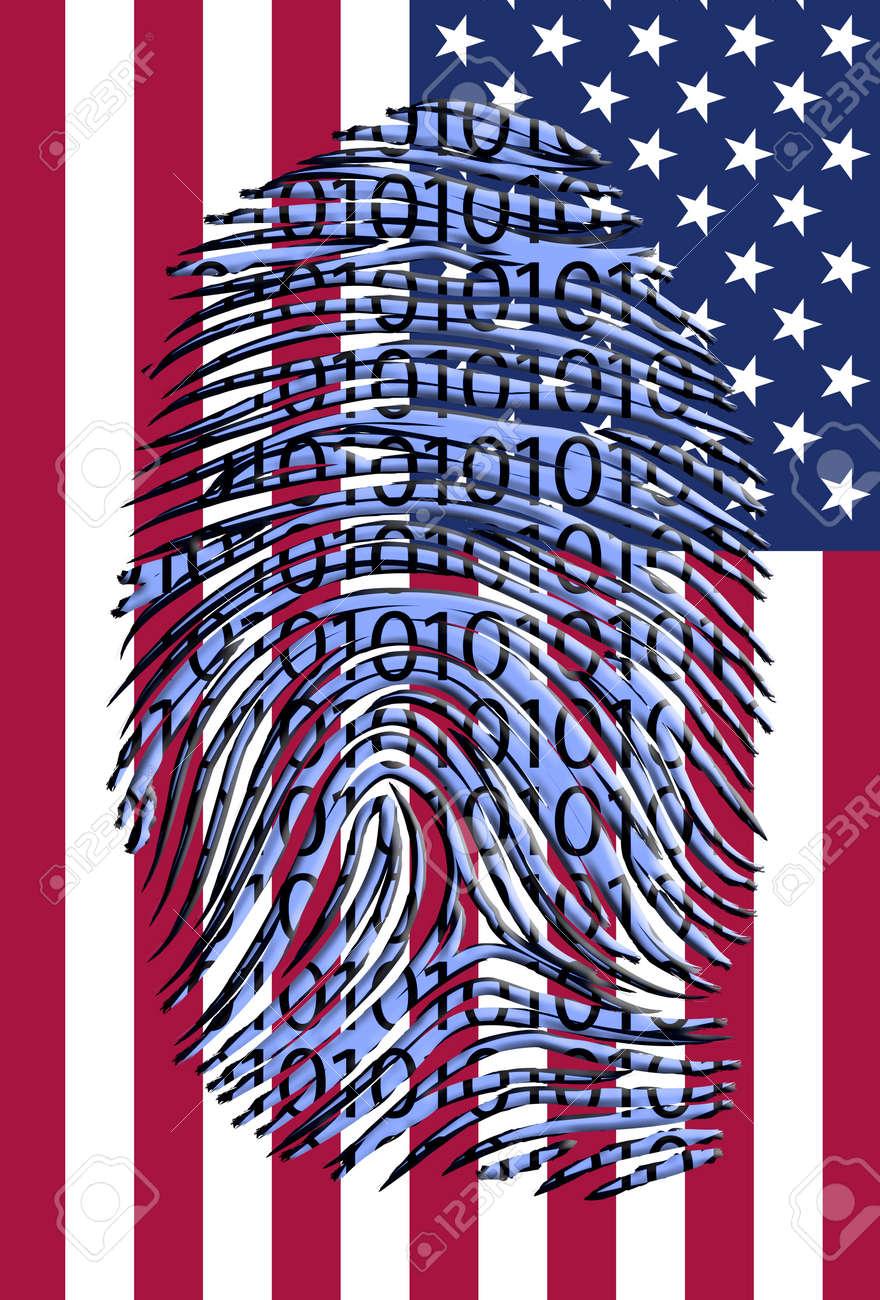 Binary finger print over US Flag Stock Photo - 21827143