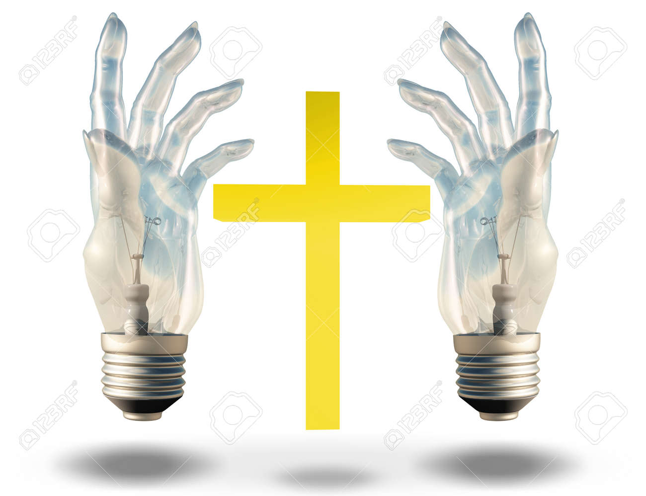 Hand shaped light bulbs frame a cross stock photo picture and hand shaped light bulbs frame a cross stock photo 25486710 jeuxipadfo Images