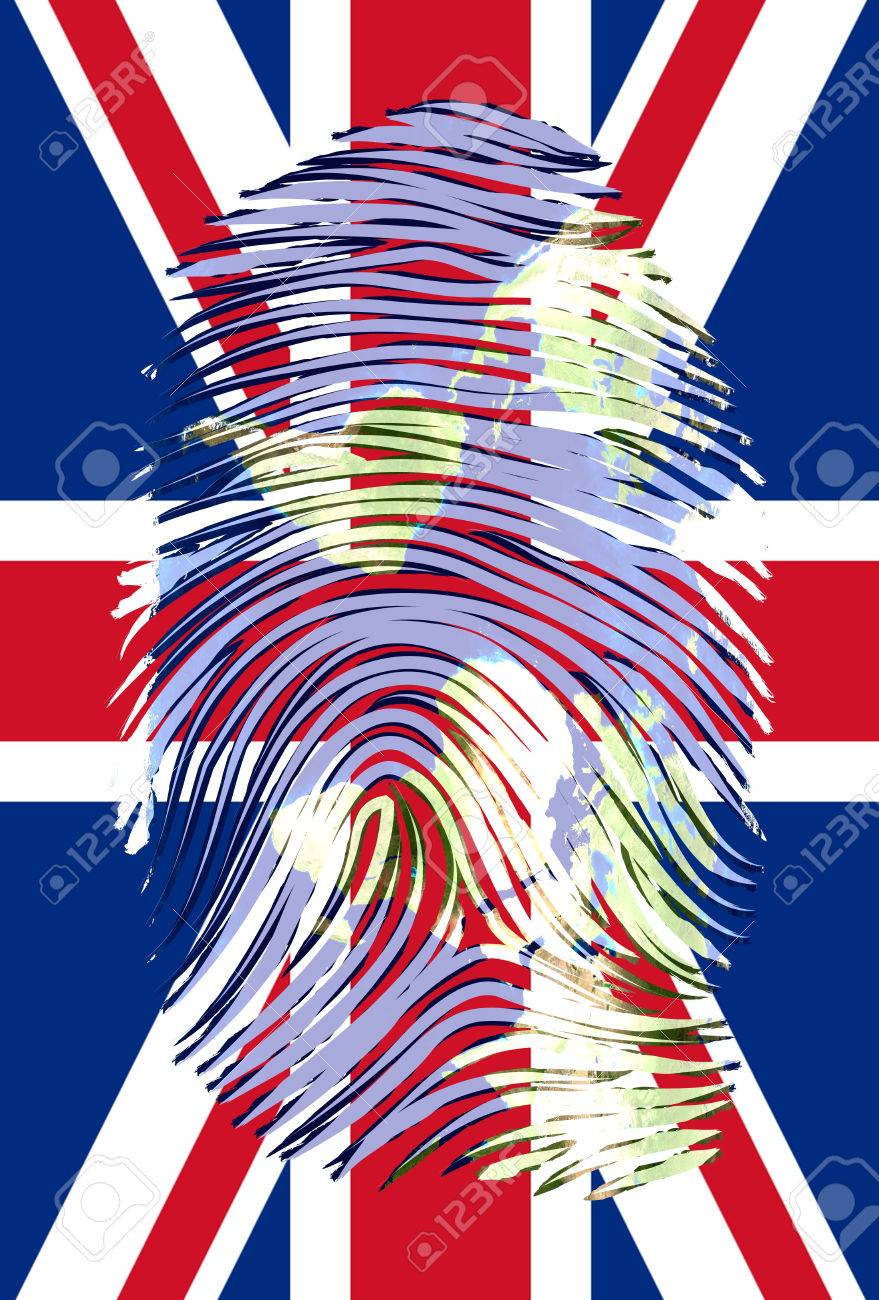 World Map Finger Mark over UK Flag Stock Photo - 25634187