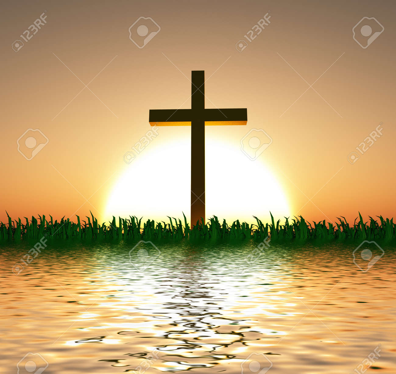 Sunset or sunrise with cross and water - 28172685