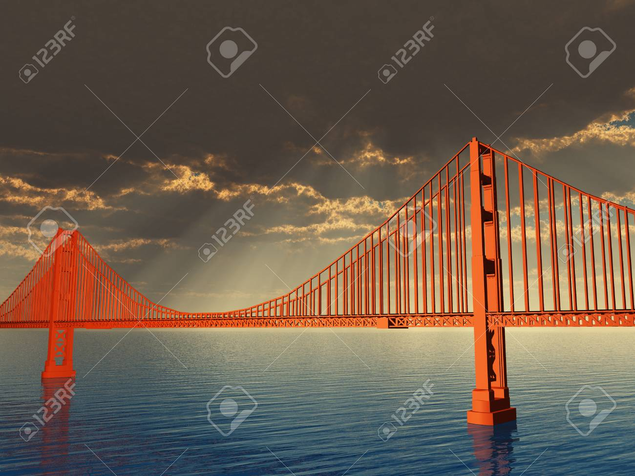 Golden Gate Bridge Illustration Stock Photo Picture And Royalty Diagram Of The 50746497