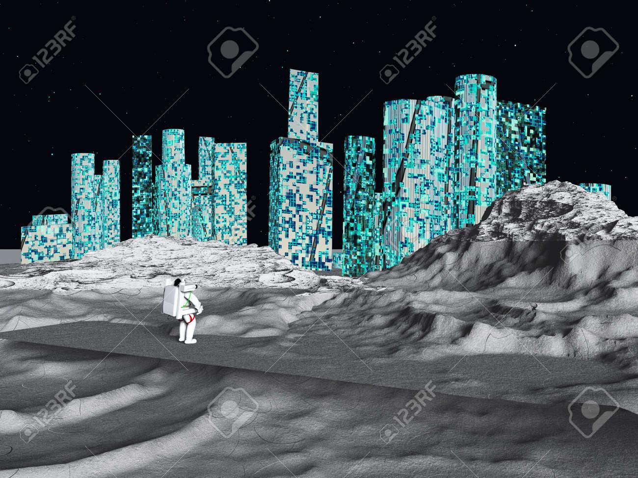 月面都市と宇宙飛行士 ロイヤリ...