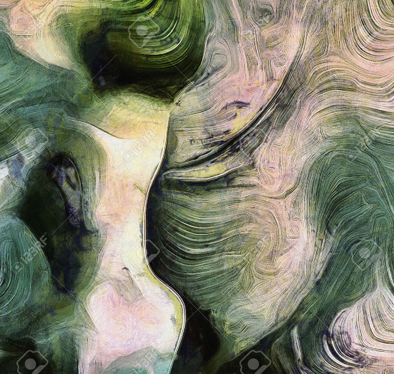 fluid lines of color movement shades of green brush strokes