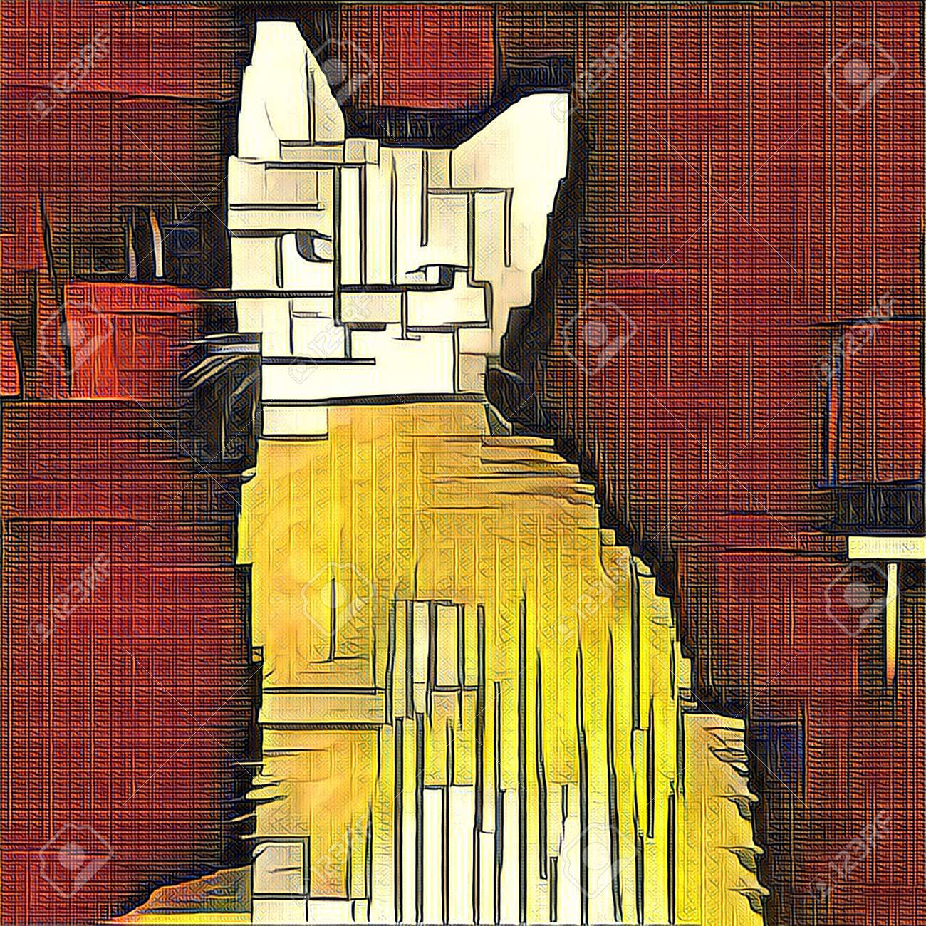 Abstract Painting. Cat. Mondrian Style. Stock Photo, Picture And ...