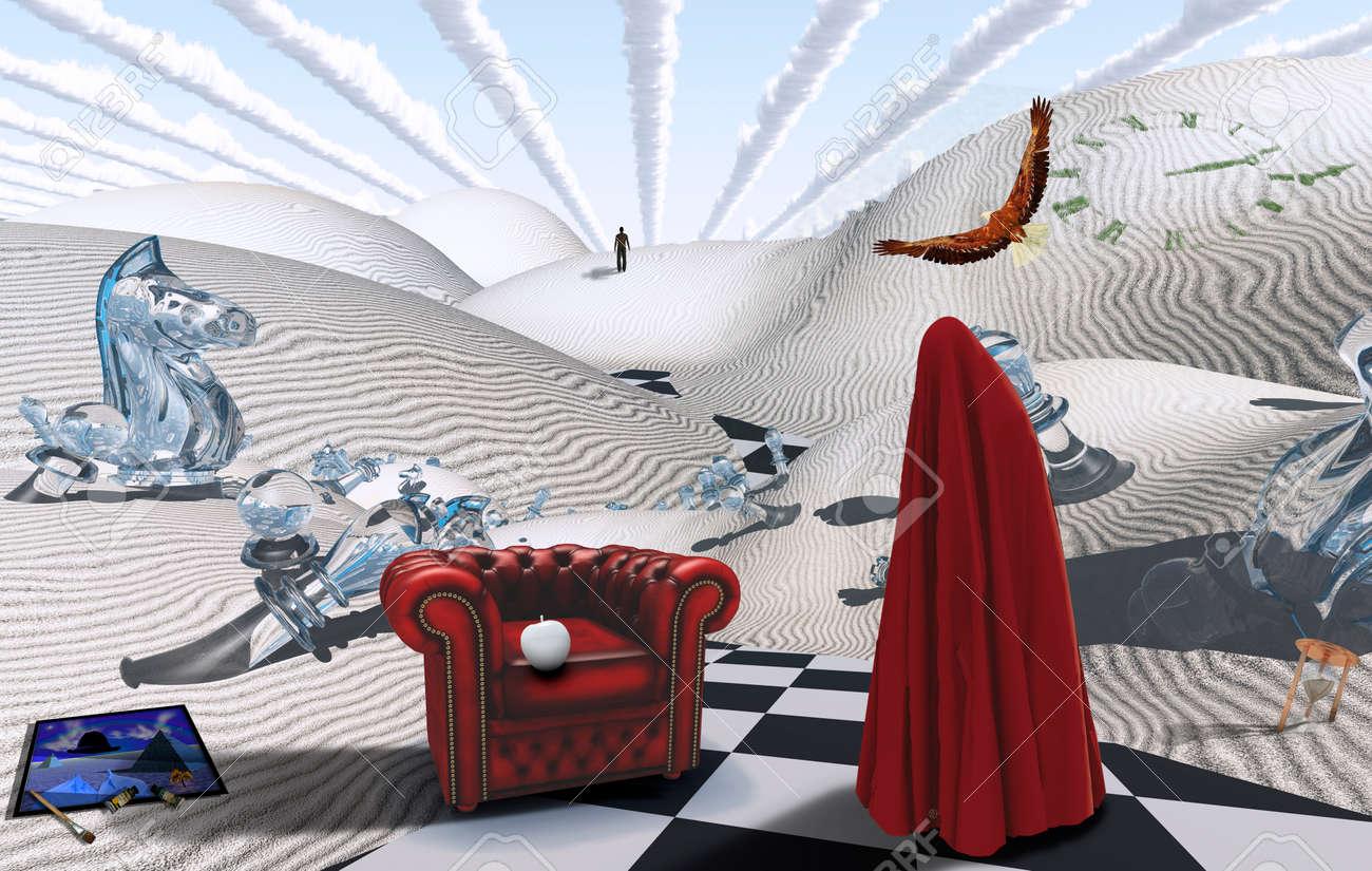 Surreale Wuste Mit Schachfiguren Figur In Rotem Hijab Sessel Mit