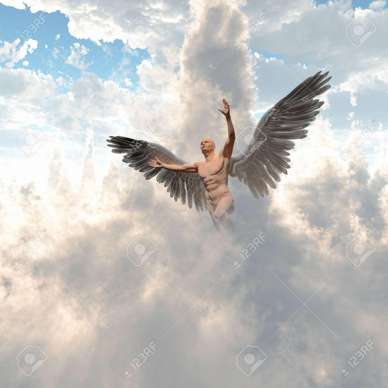 Image D Ange Homme surréalisme. un homme nu avec des ailes d'ange vole dans le ciel