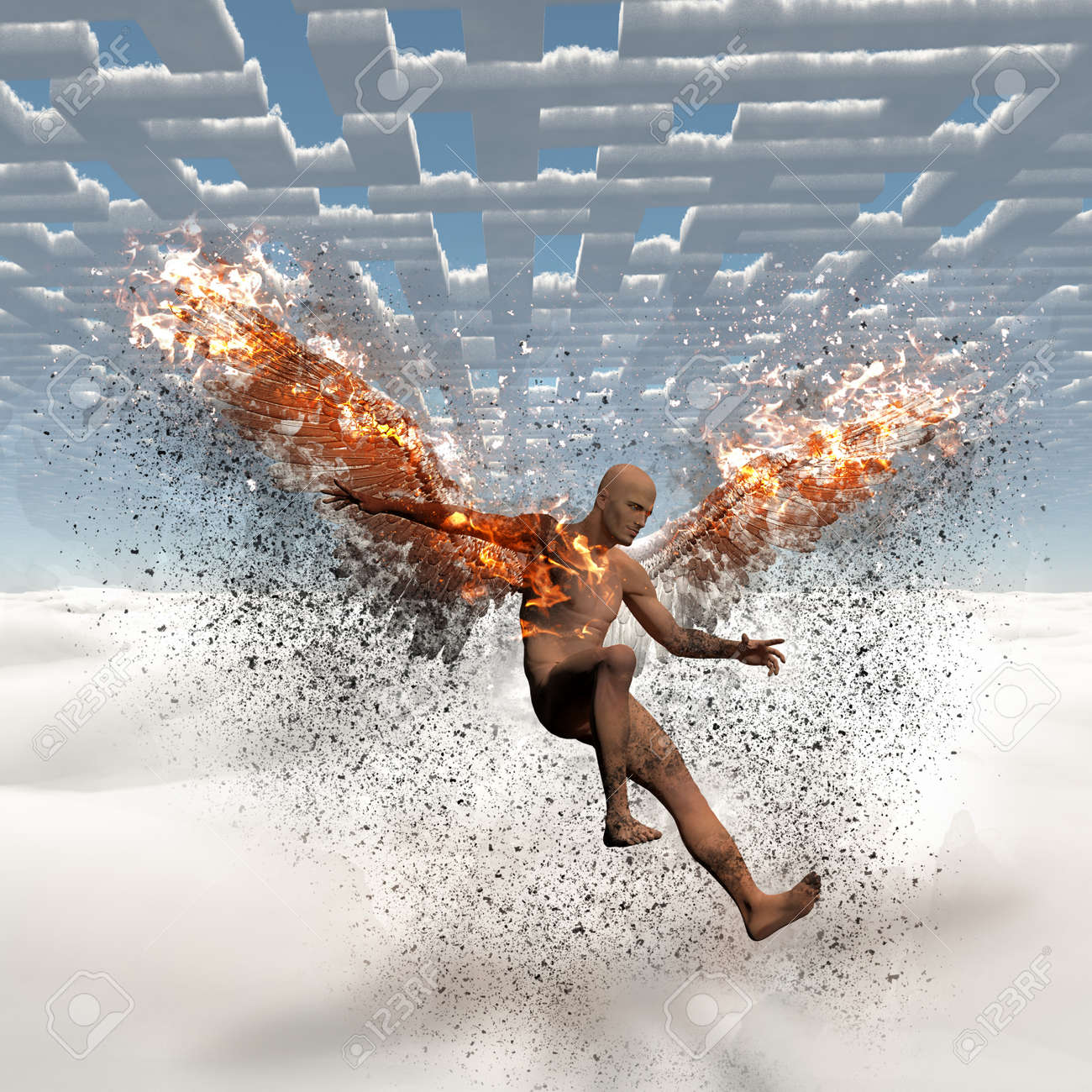 Surrealism  Naked man with burning wings falls down from cloudy