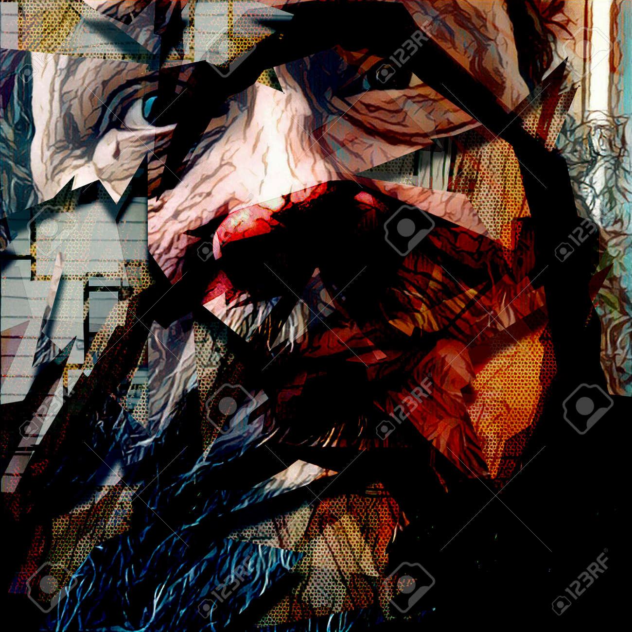 Abstract Painting In Dark Colors Old Man S Face
