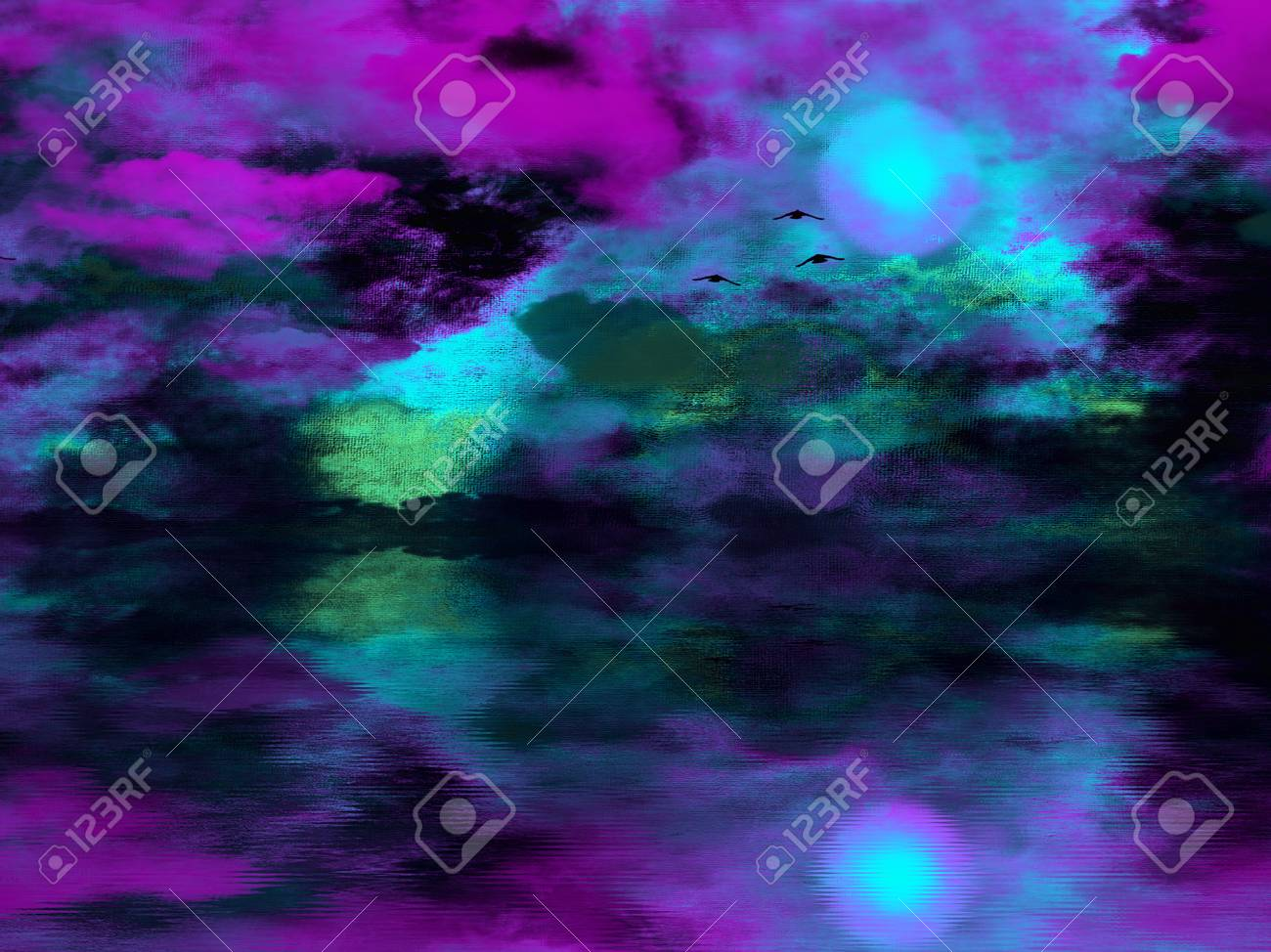 Abstract Painting Purple Sunset Over Water 3d Rendering Stock Photo Picture And Royalty Free Image Image 91043569