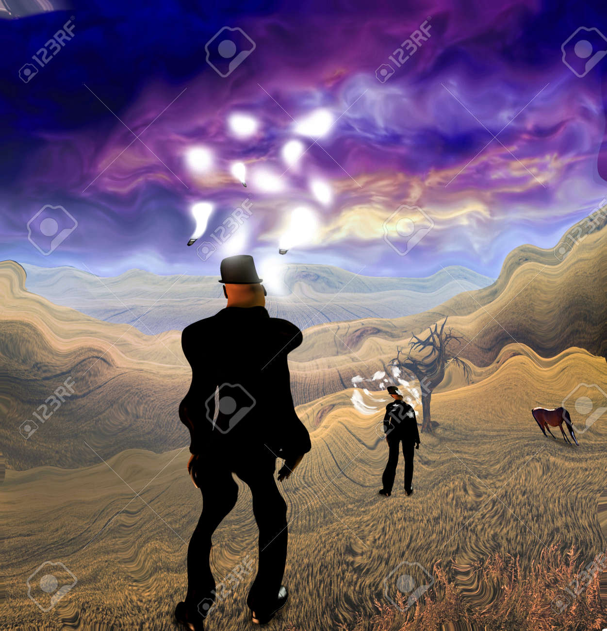 Surreal Painting Man In Suit Stands In Field Light Bulbs Around Stock Photo Picture And Royalty Free Image Image 92700980