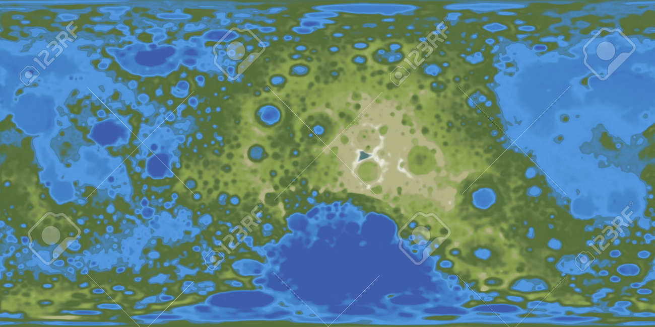 Terraformed moon map. 3D rendering on map of a, map of all, map or,