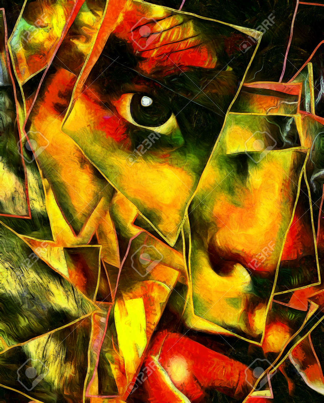 Dark Emotion Face Multi Layered Abstract