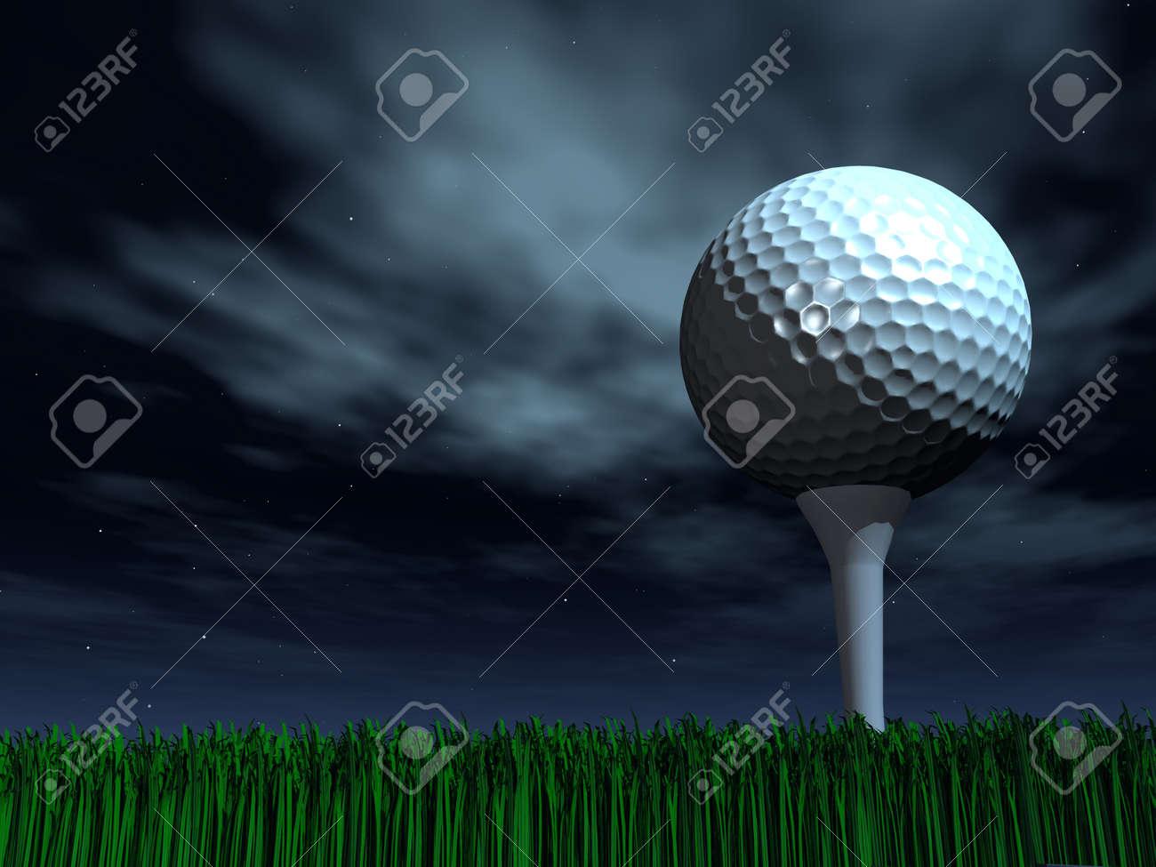 Night golf ball on a grass - 121649536