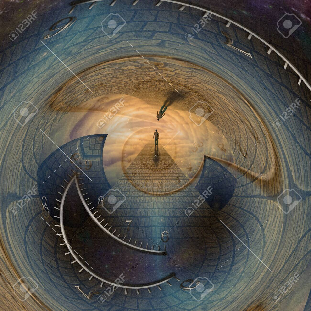 Man journeys through doorway of time - 124535930
