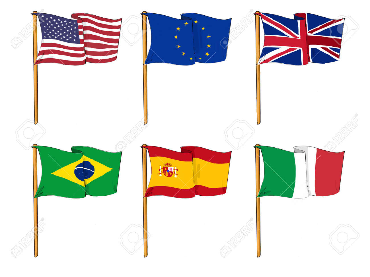 cartoon like drawings of some of the most popular flags in the rh 123rf com cartoon flags blue one cartoon flashing blue lights police car