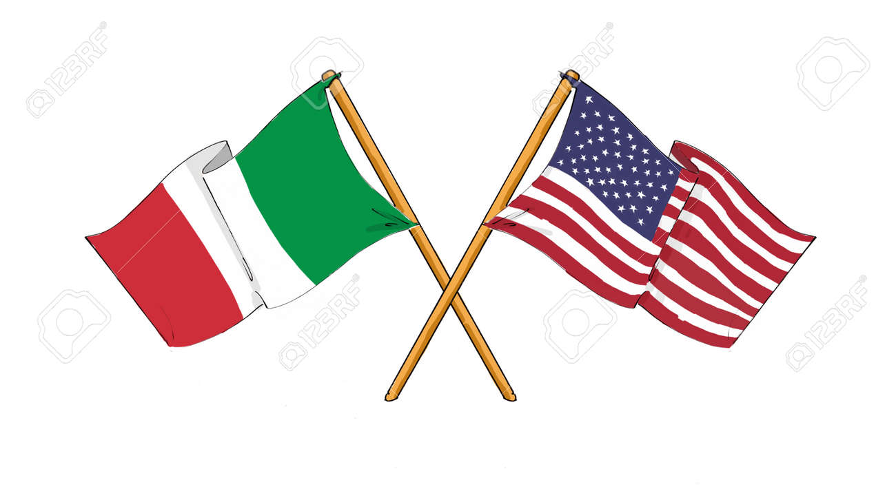 American And Italian Alliance And Friendship Stock Photo Picture
