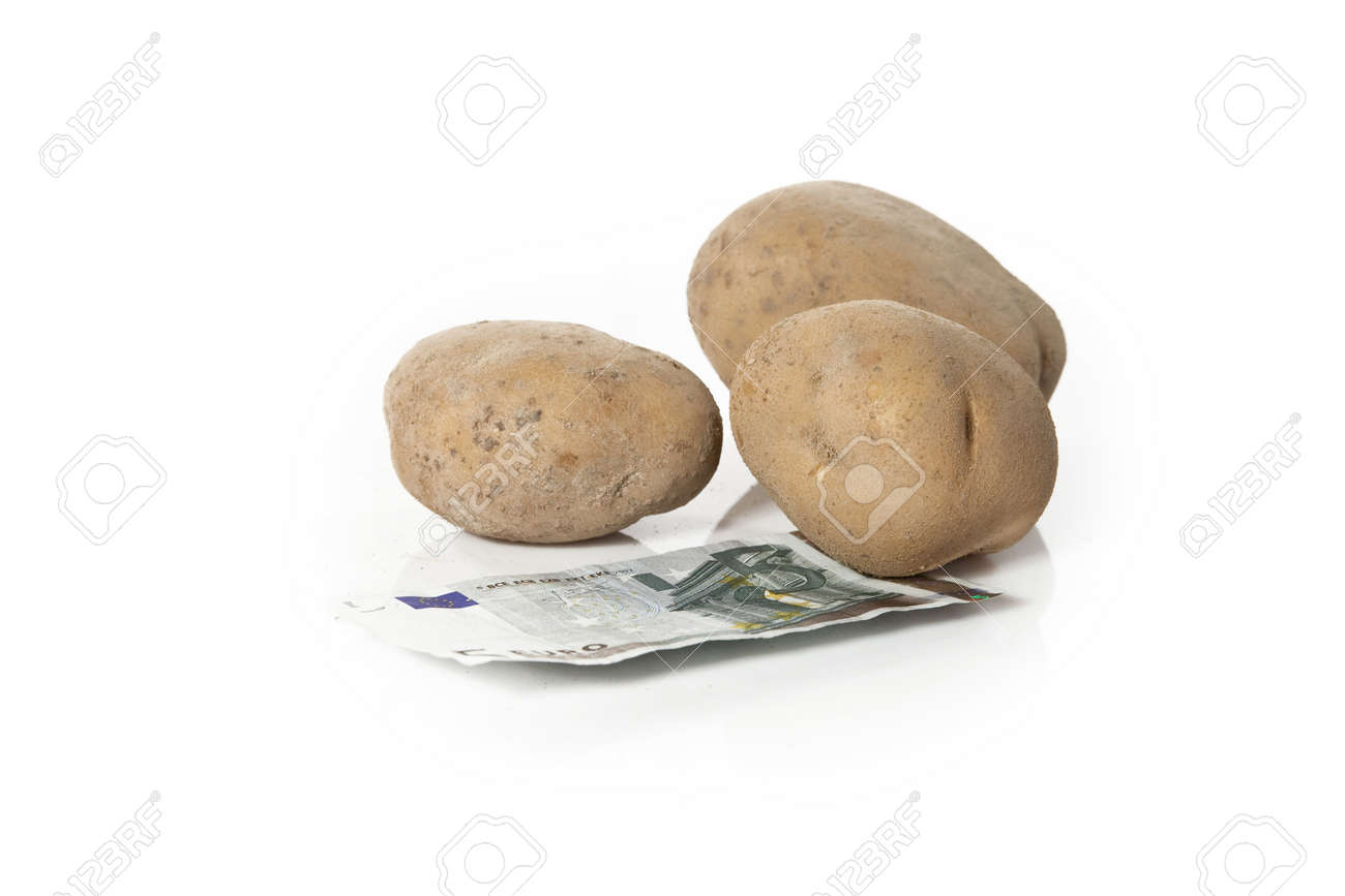 potatoes and five euro bill on white background Stock Photo - 15163269