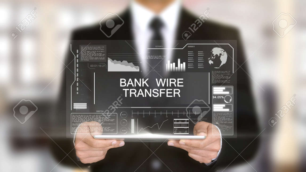 Bank Wire Transfer, Hologram Futuristic Interface, Augmented.. Stock ...