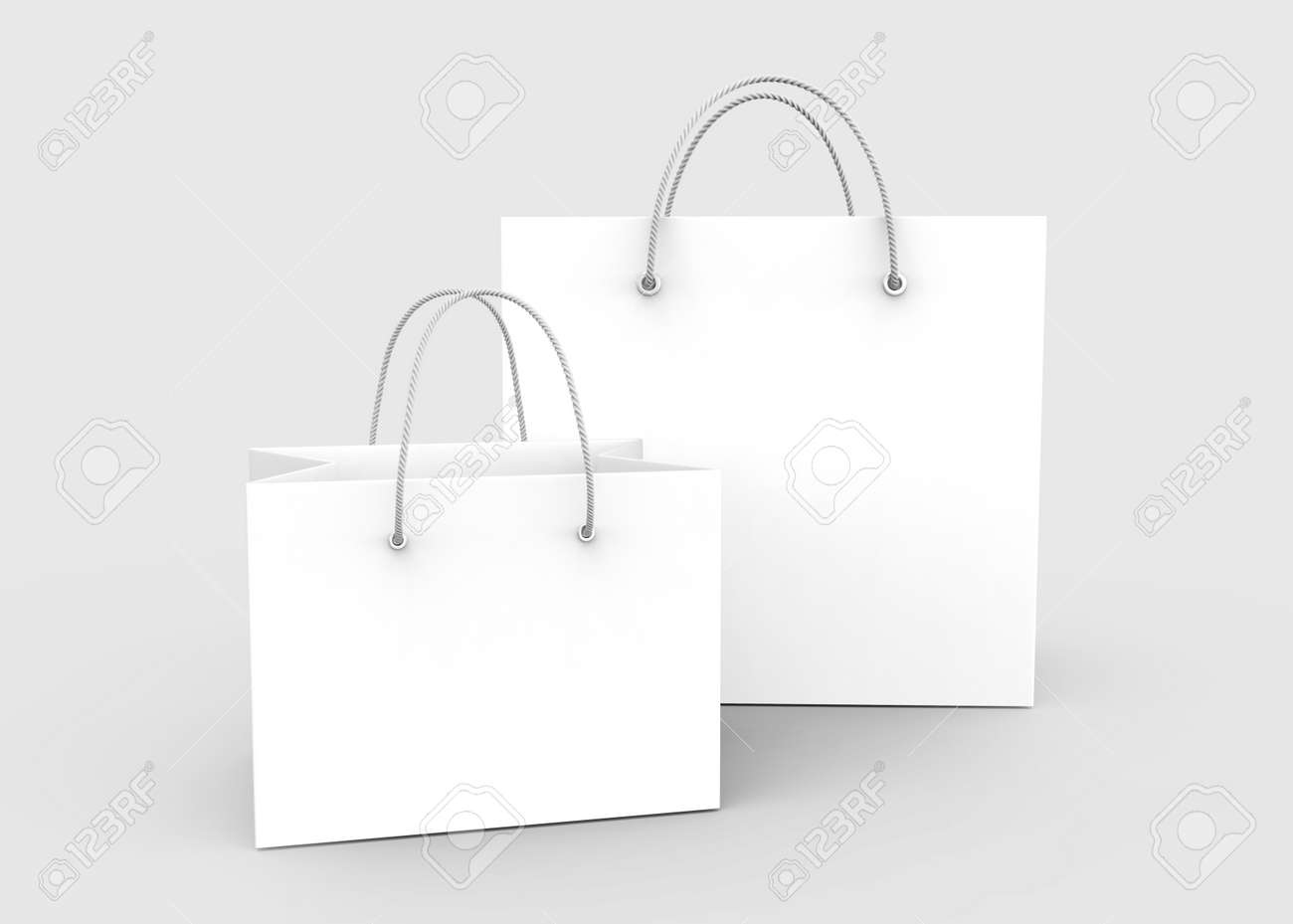 Blank White Shopping Bags With Nylon Rope Handle In 3d Rendering ... 03c15dc054489