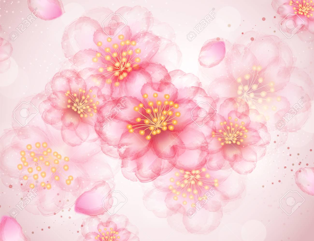 Light Pink Flowers Background For Romantic Situation Royalty Free