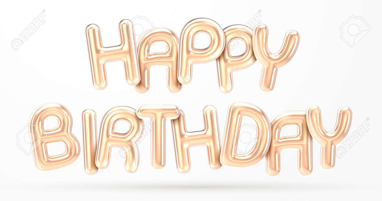 HAPPY BIRTHDAY golden foil balloon phrase in 3d render - 121622040