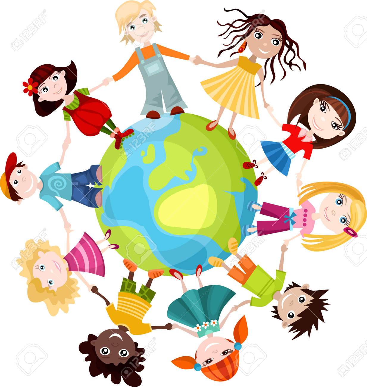 Souvent Enfants Du Monde Clip Art Libres De Droits , Vecteurs Et  AS85