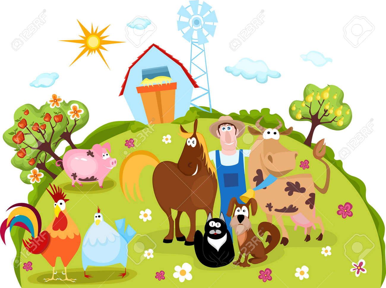 Farm Animals And Farmer Royalty Free Cliparts, Vectors, And Stock ...