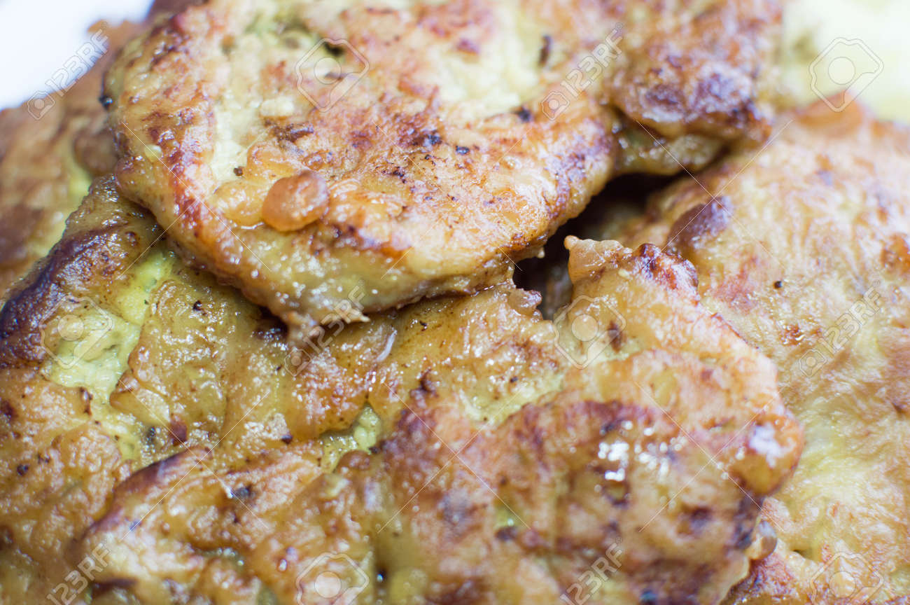 good deep-fried juicy pieces of meat - 57128174