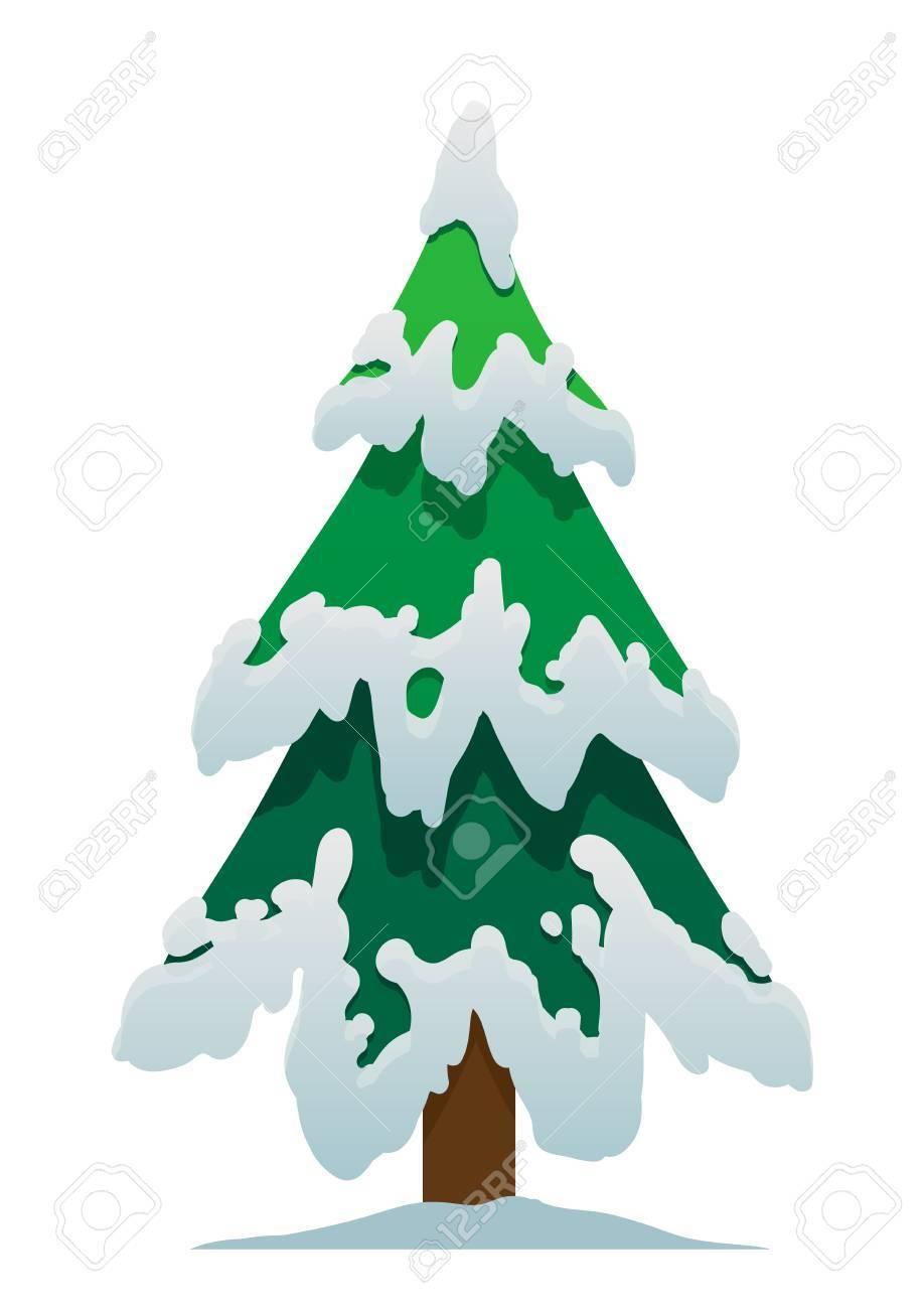 Cartoon Weihnachtsbaum Im Schnee Auf Einem Weißen Hintergrund ...
