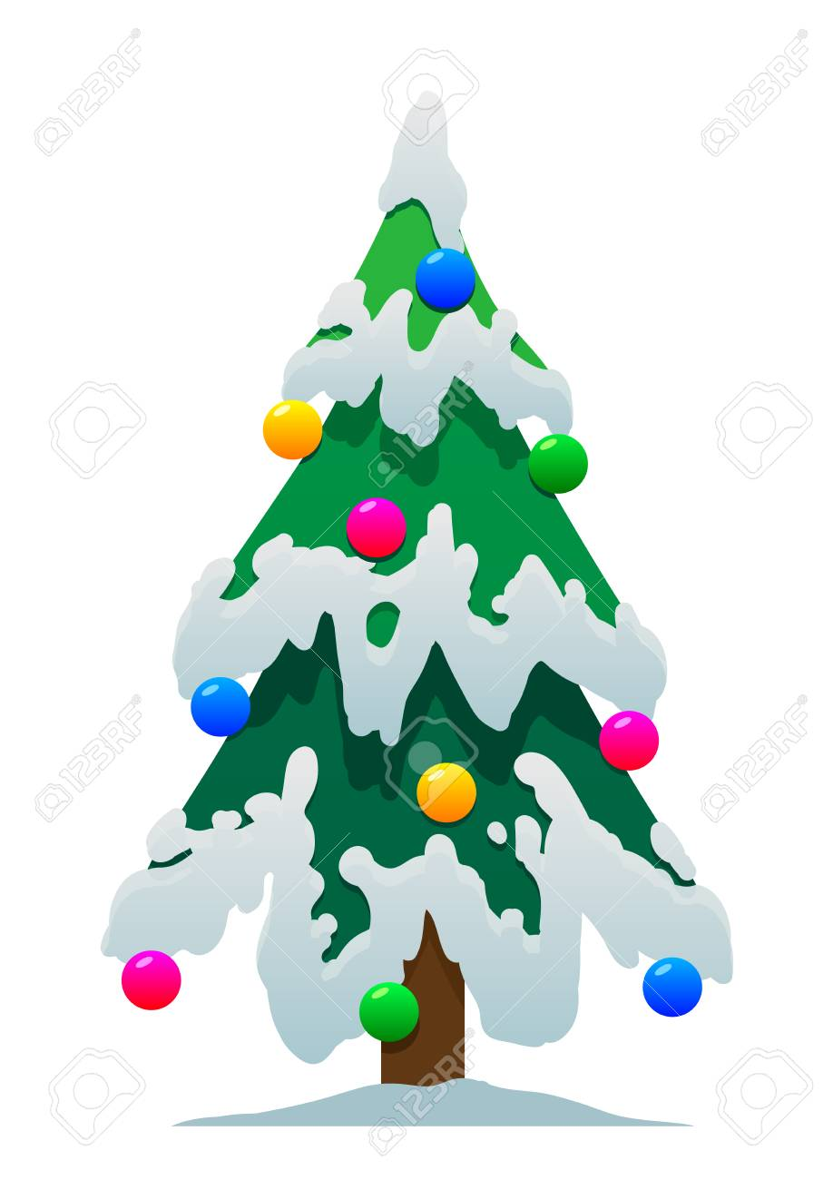 Cartoon Christmas Tree In The Snow On A White Background Isolated Stock Vector