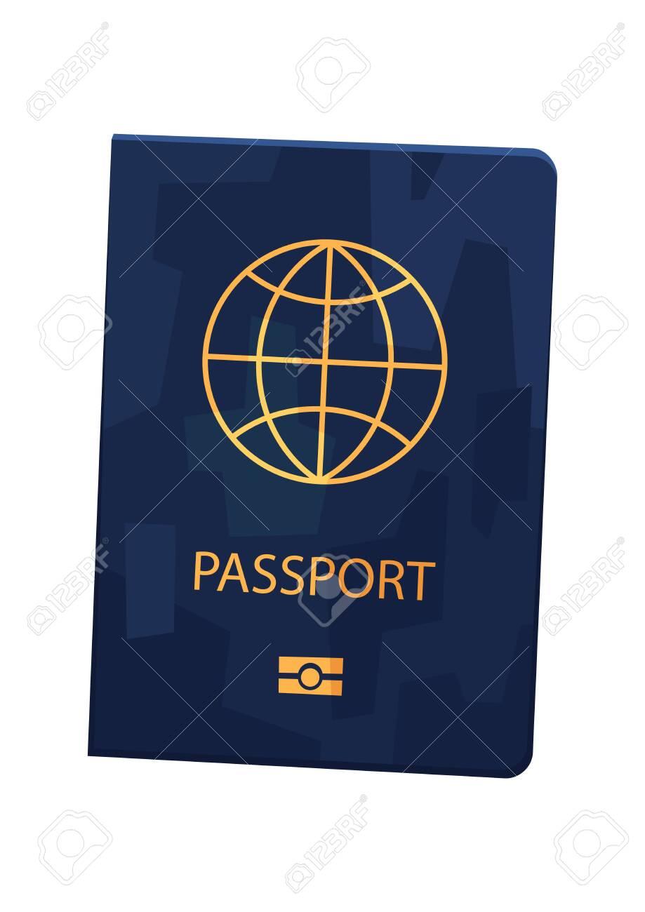 Vector blue passport in cartoon style on white background - 138367977