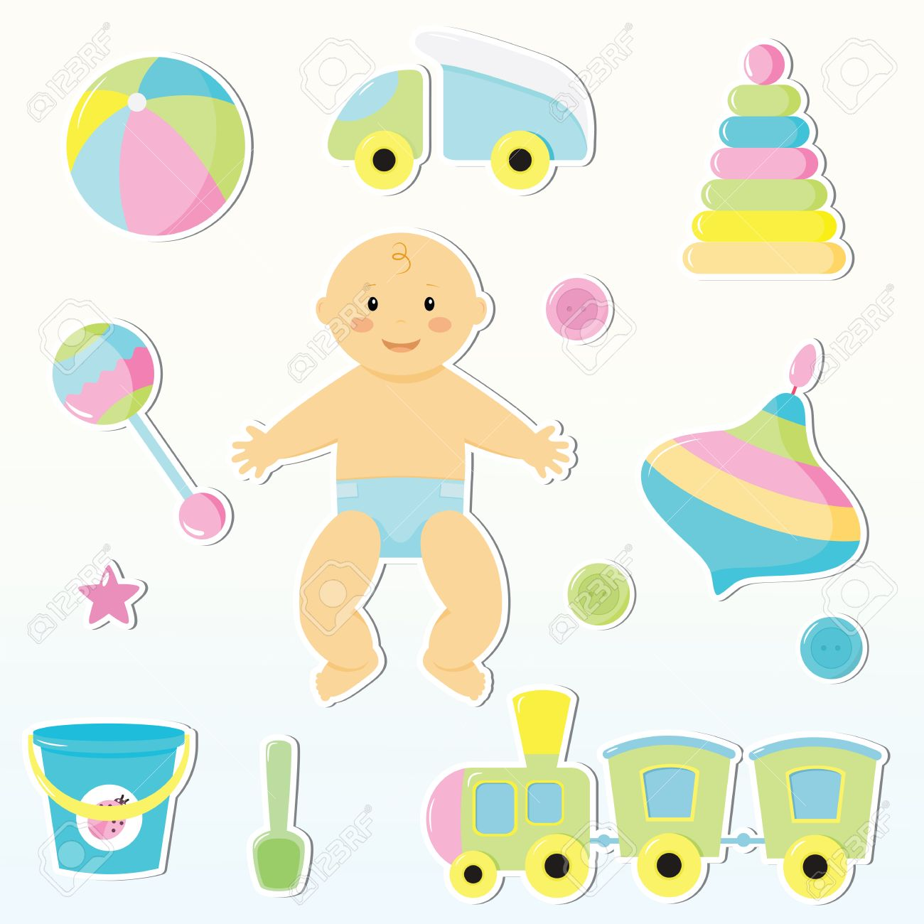 set of cute baby toy stickers design elements for baby shower