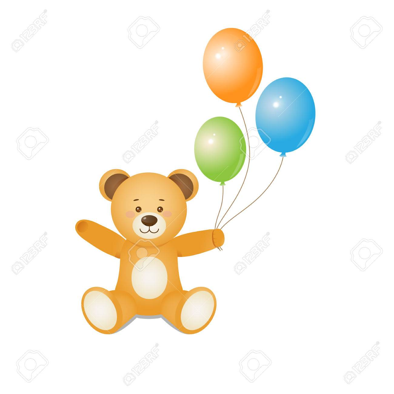 Funny Teddy Bear Holding Balloons In Hands.Design For Prints ...