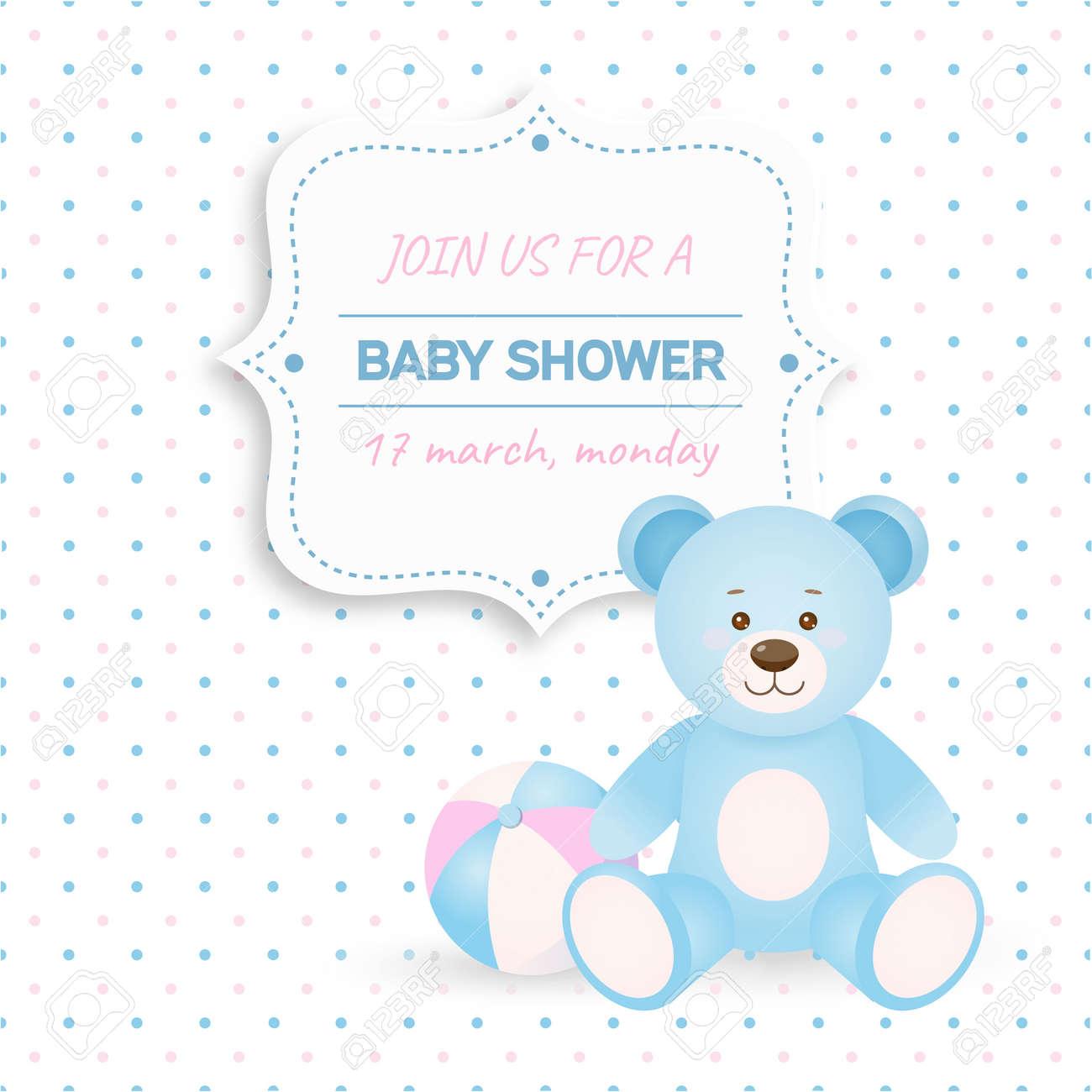 Invitación Tarjeta De Baby Shower Con El Oso De Peluche Azul Y Ball Card Con Lugar Para El Texto En El Estilo De Dibujos Animados