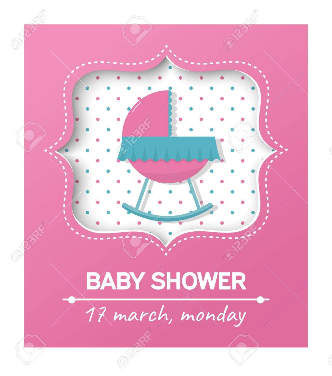 Invitación Tarjeta De Baby Shower Con Cradle Card Con Lugar Para El Texto