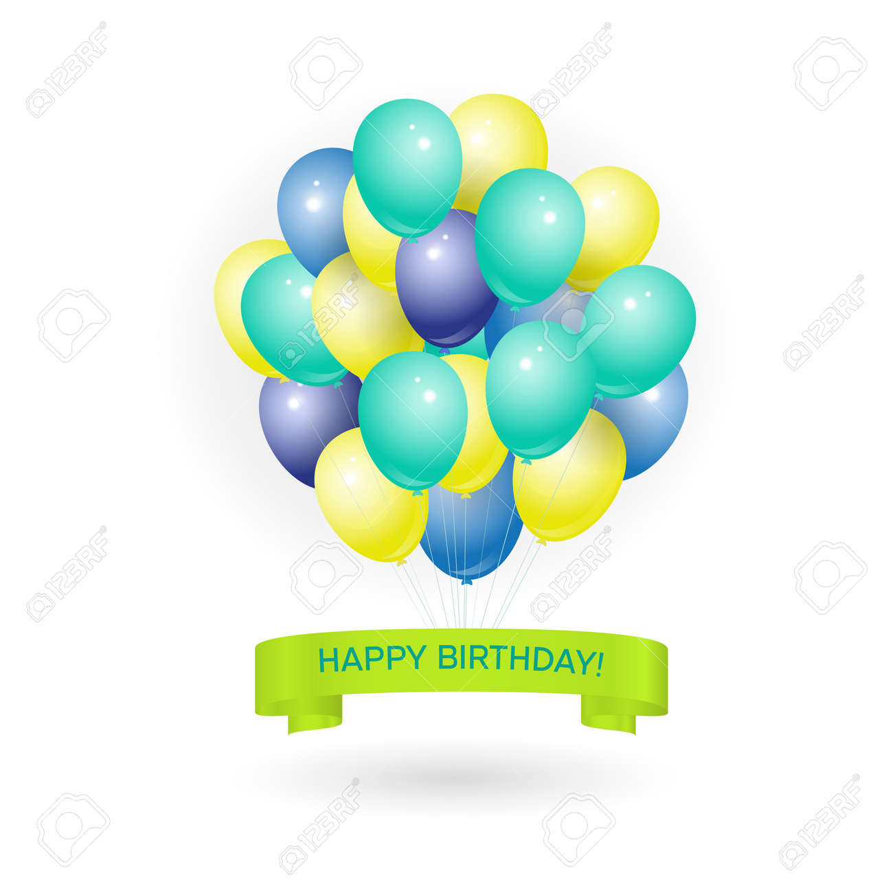 Happy Birthday Greeting Card With Volume Colored Balloons And