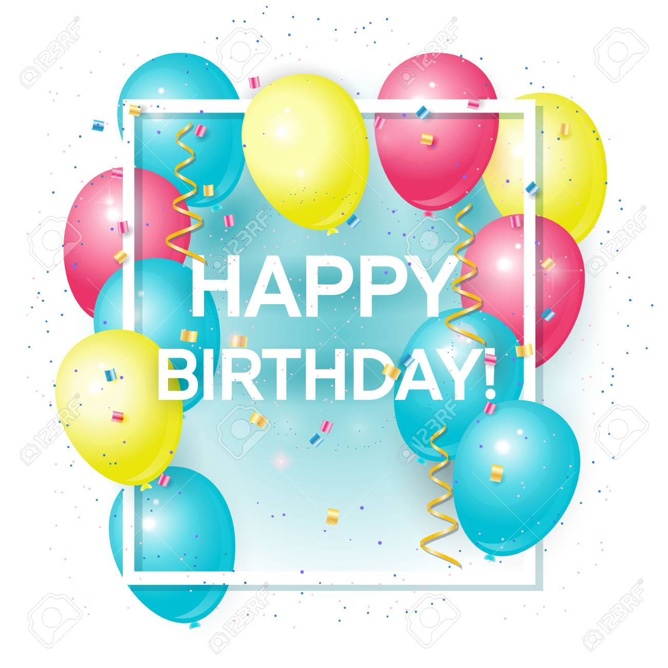 Happy birthday greeting card with volume colored balloons and happy birthday greeting card with volume colored balloons and sample text can be used as m4hsunfo