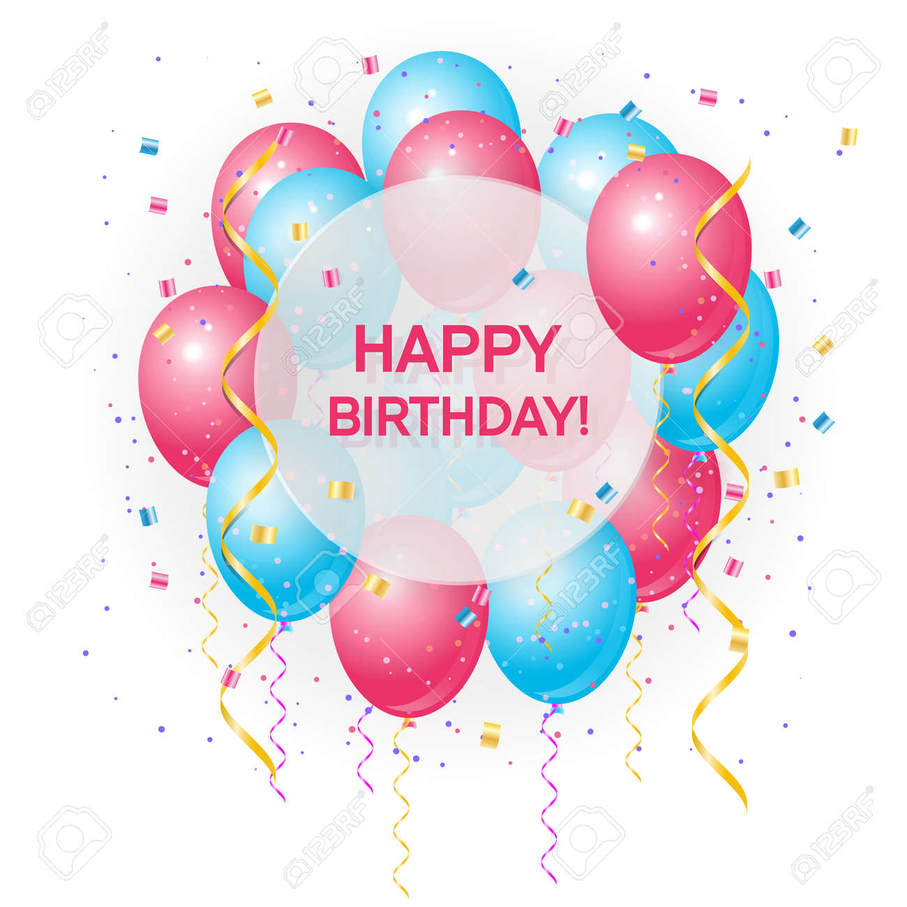 Happy Birthday Greeting Card With Volume Colored Balloons And Sample Text In The Circle Can