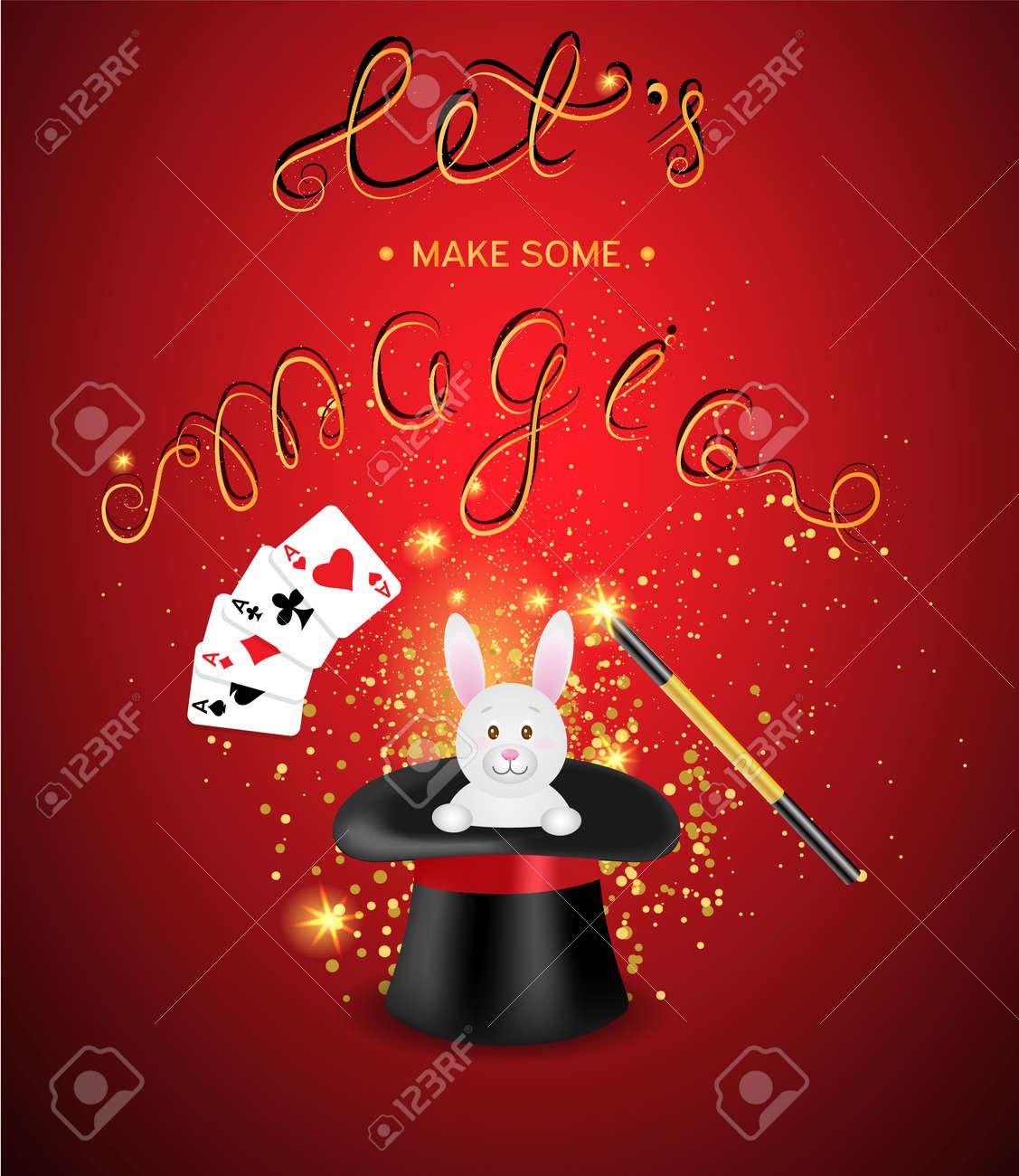 Magic Show ilustración template.Vector. Sombrero de mago con una varita  mágica 835de862c7e