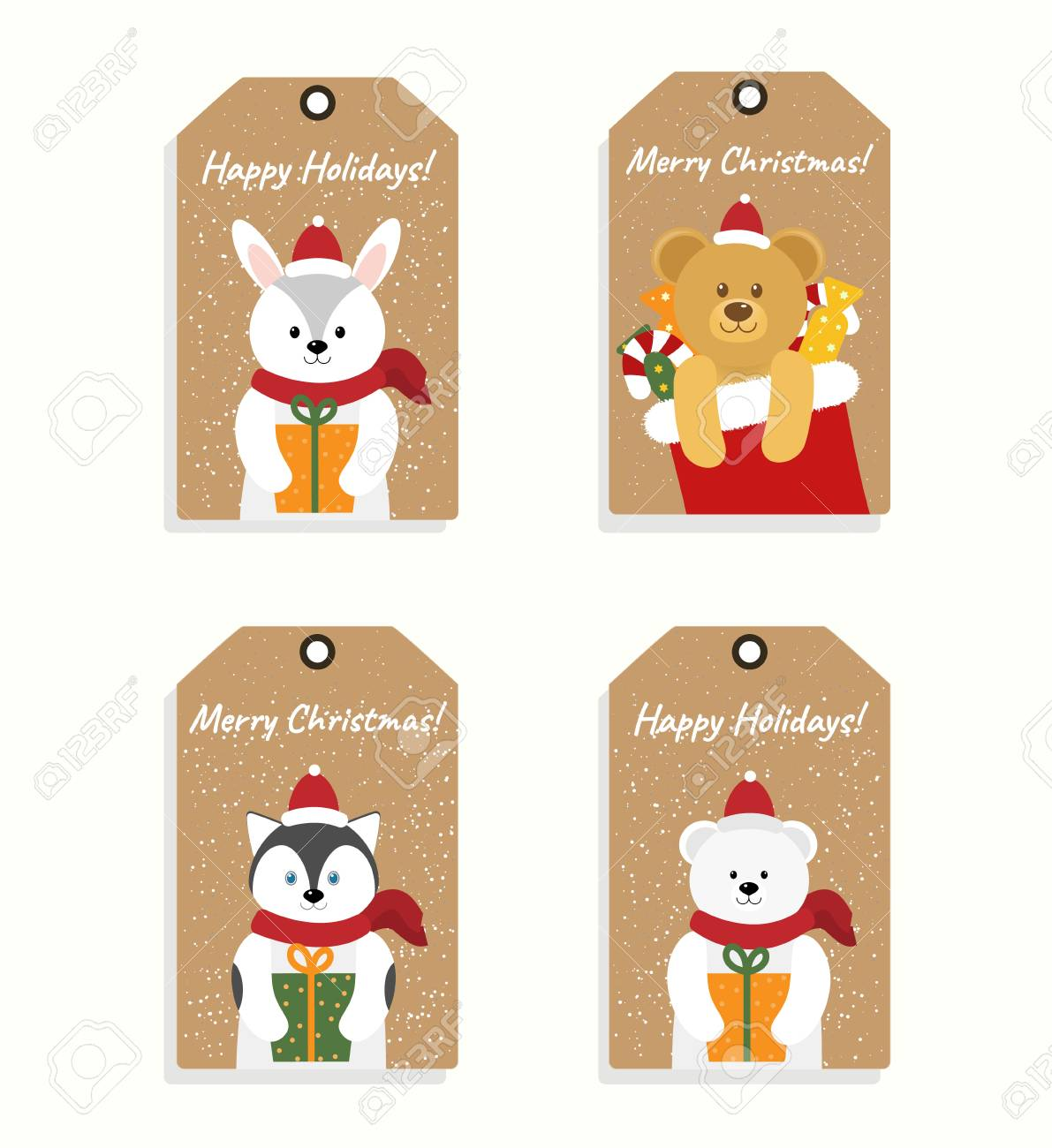collection of four christmas and new year gift tags with cute animals printable badge