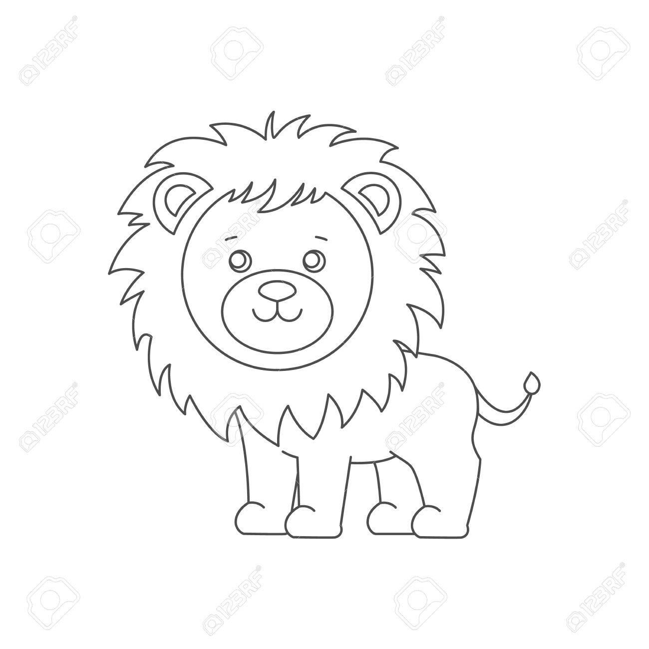 León Para El Libro Para Colorear. Ilustraciones Vectoriales, Clip ...
