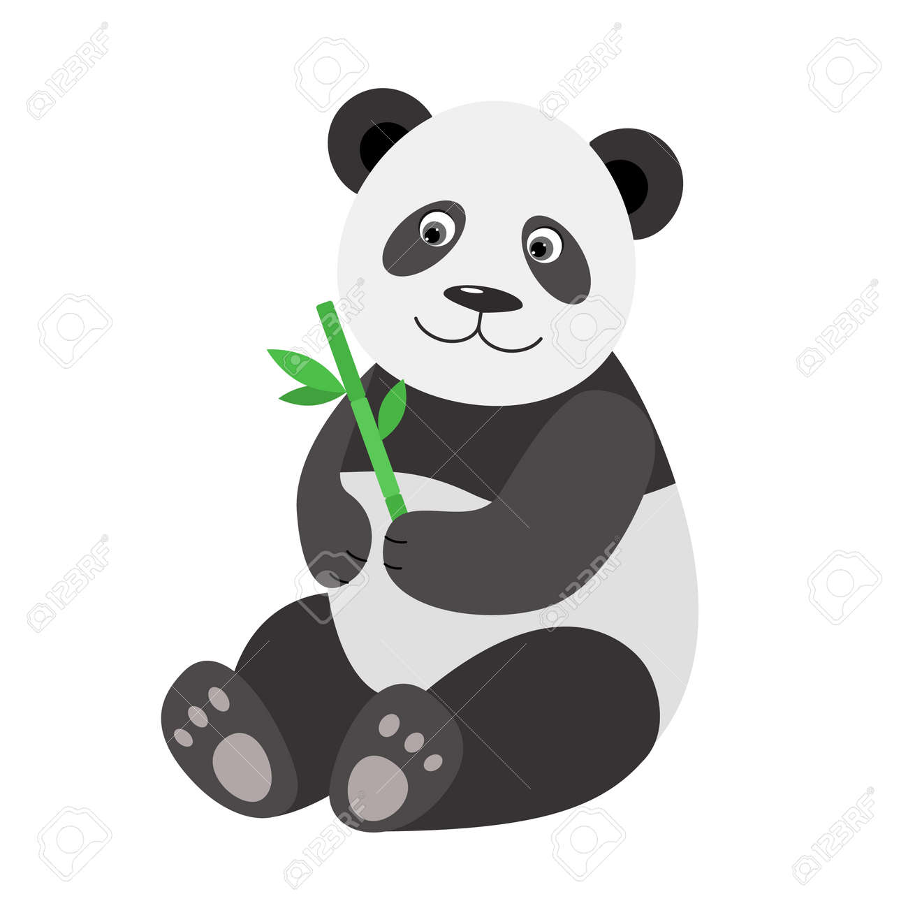 Panda With Bamboo. Design Element For Baby Shower Card, Scrapbook ...