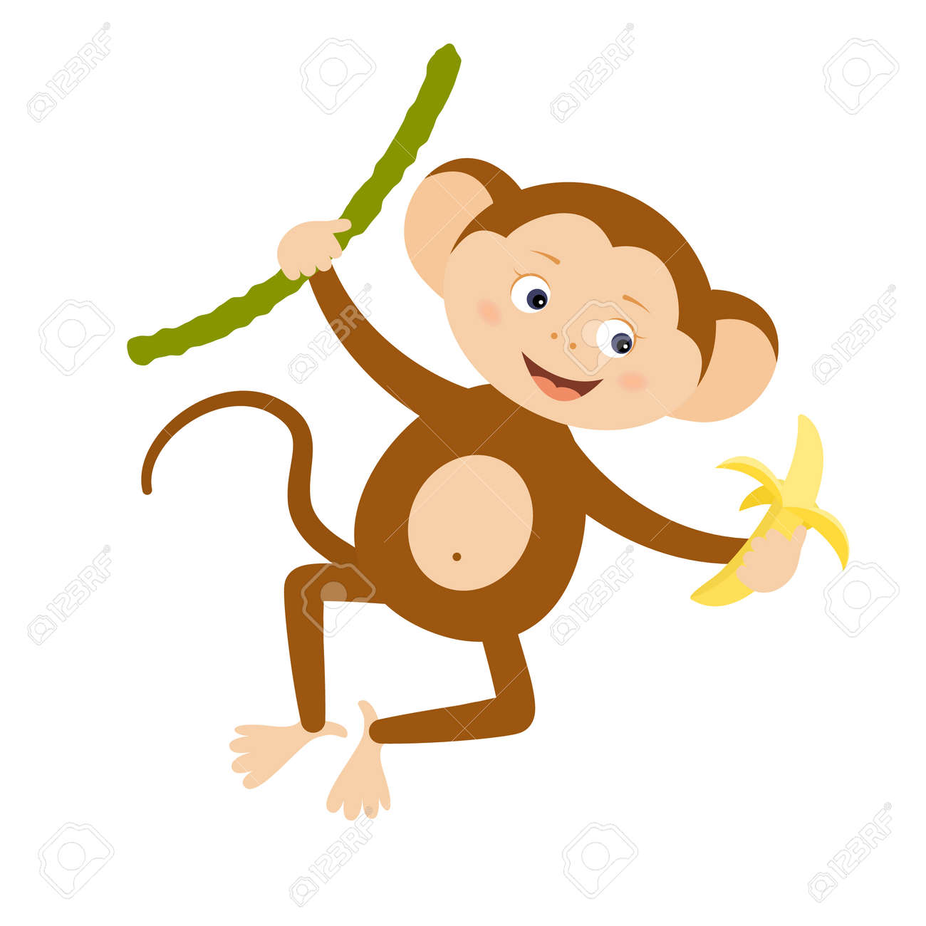 Funny Monkey With Banana Design Element For Baby Shower Card