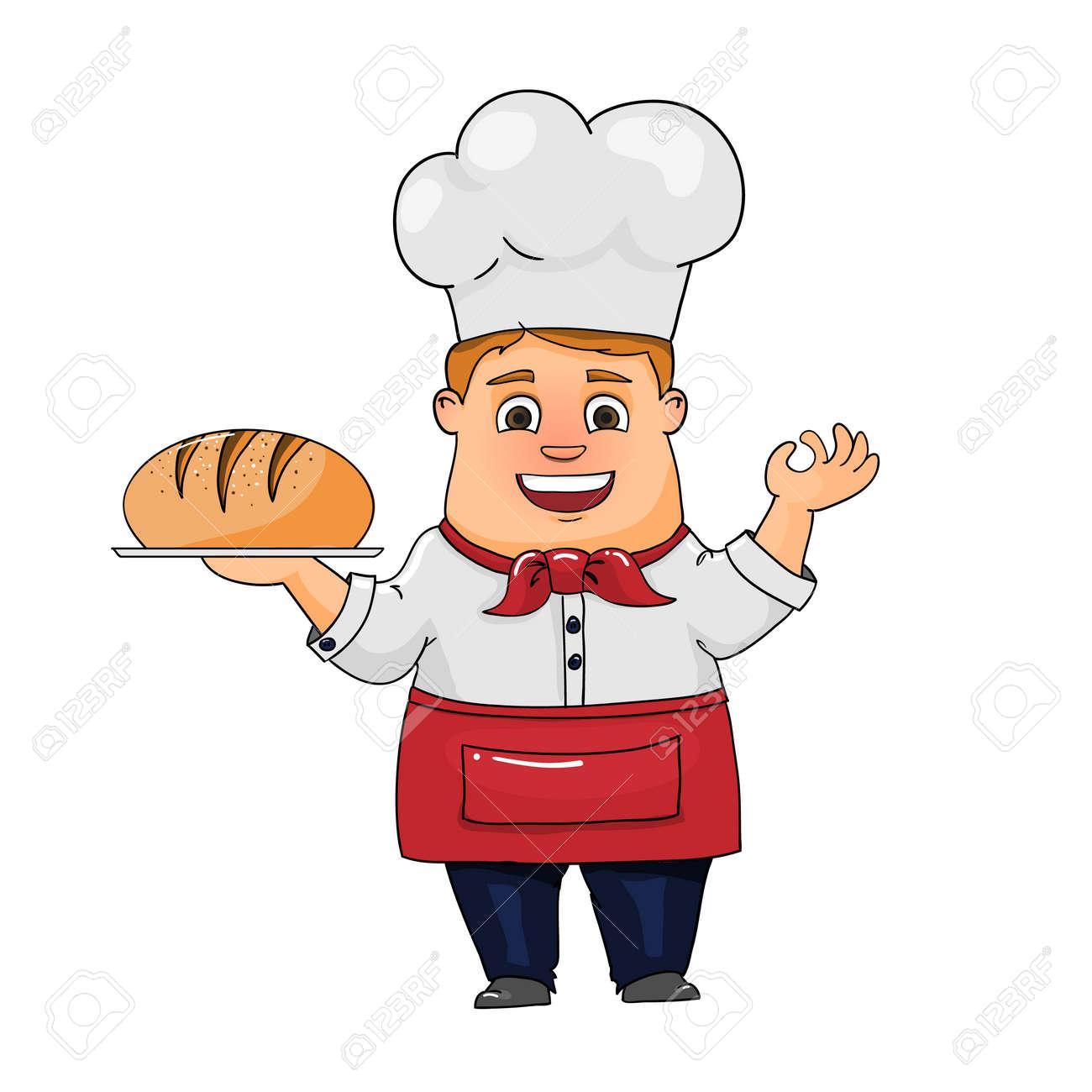 Boulanger Dessiné Main Avec Du Pain Dans Sa Main Isolé Sur Fond