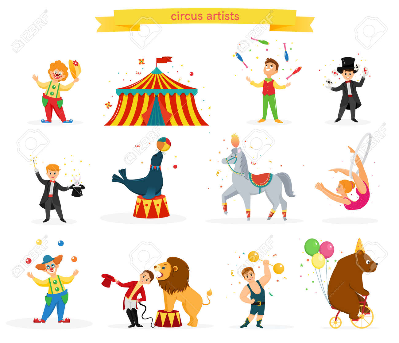 A set of colored circus artists. Circus performers perform tricks.Flat cartoon style. Vector illustration - 112350708