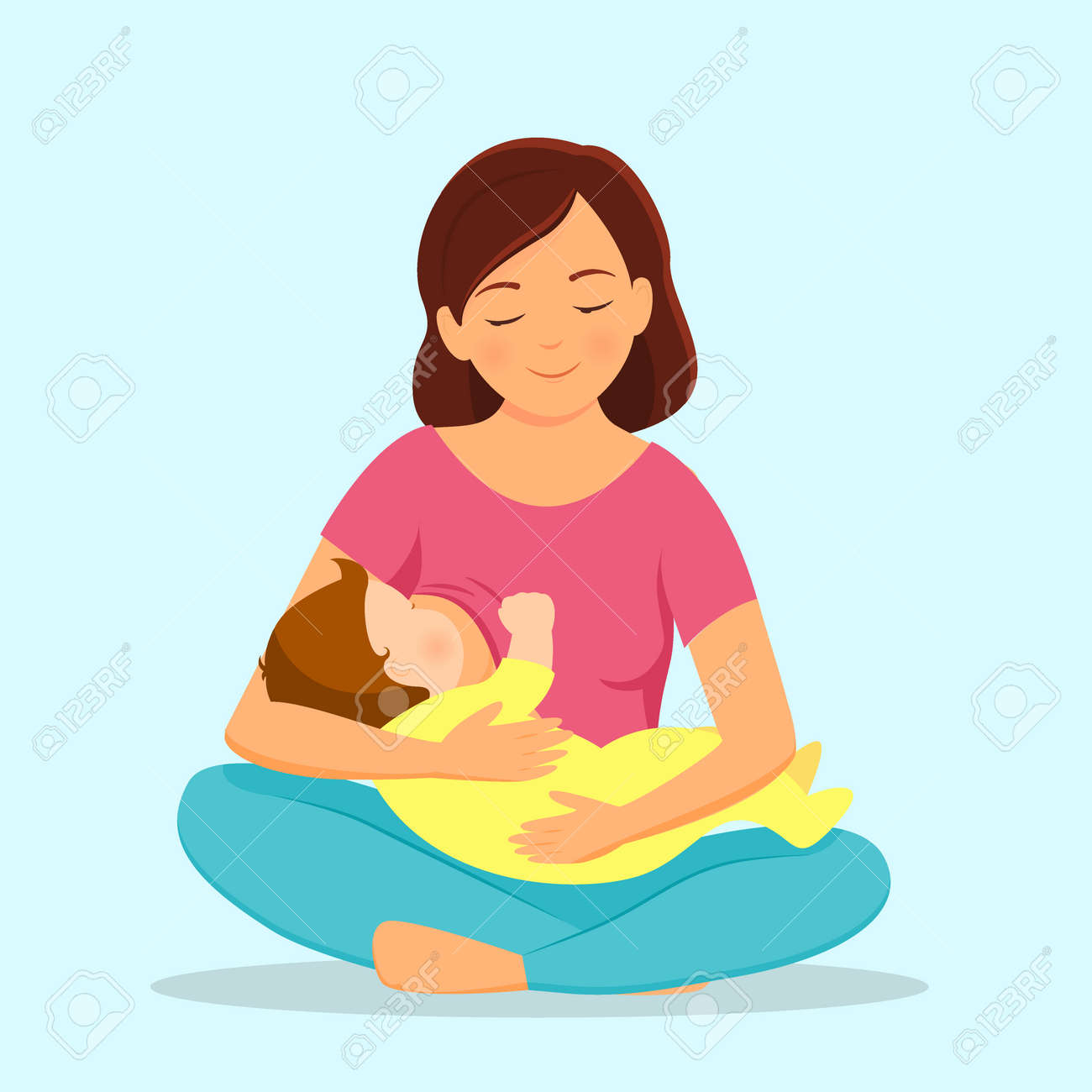Mother breastfeeding baby.Mother and baby. Vector illustration. - 111943675