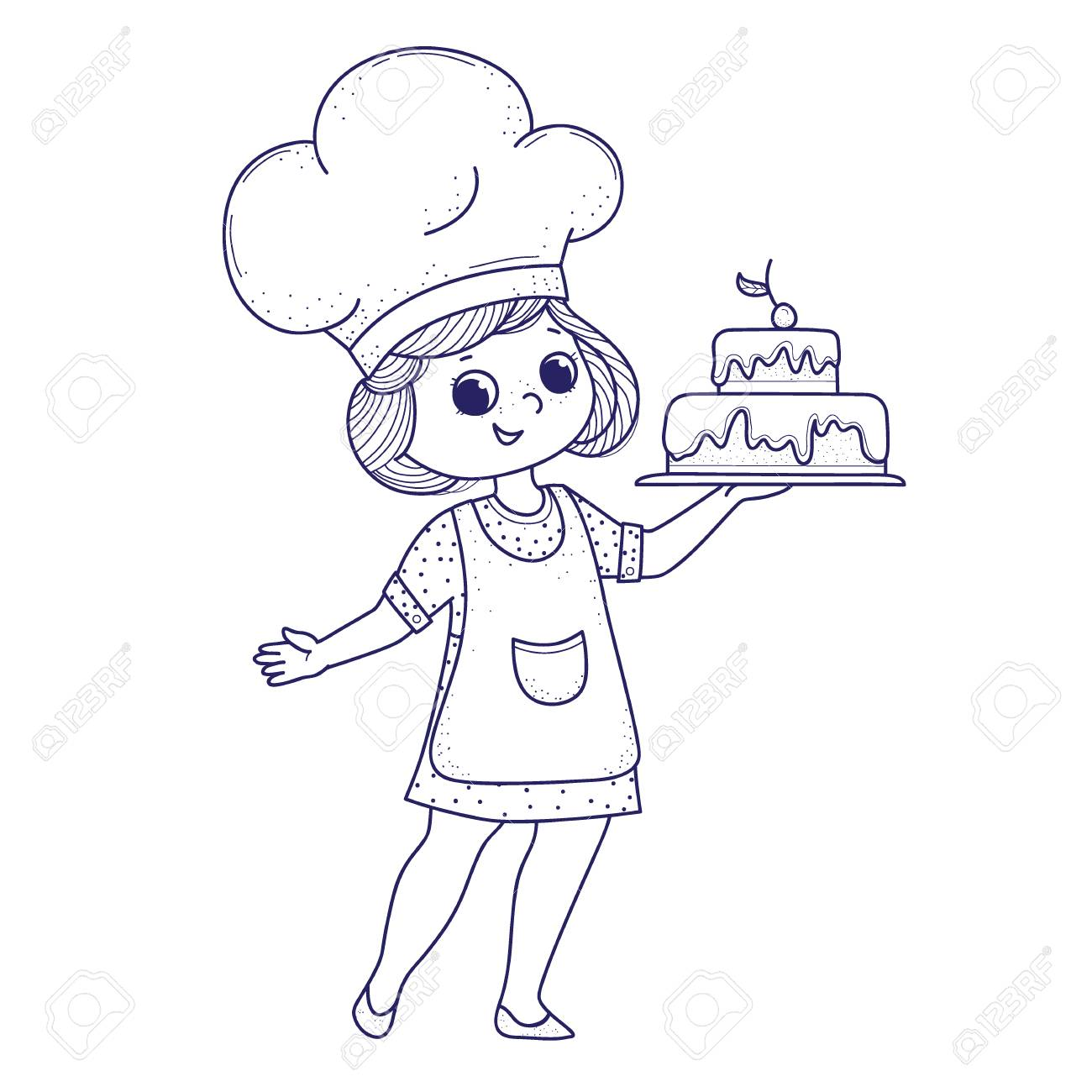 Cute girl for coloring book  Girl bakes a cake Line art design Isolated