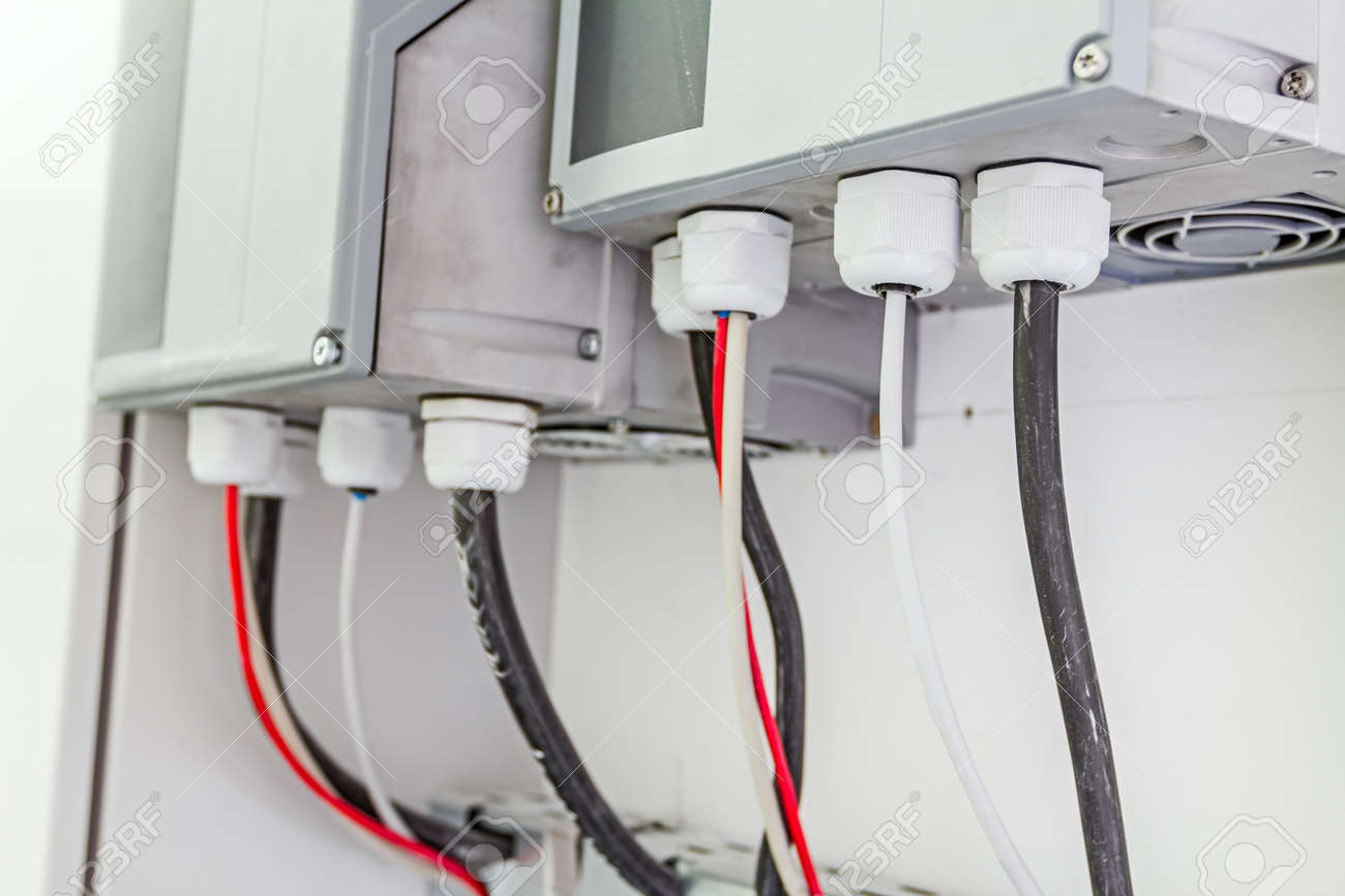 Electrical Cabinet With Connectors Is Providing Electrical Energy ...