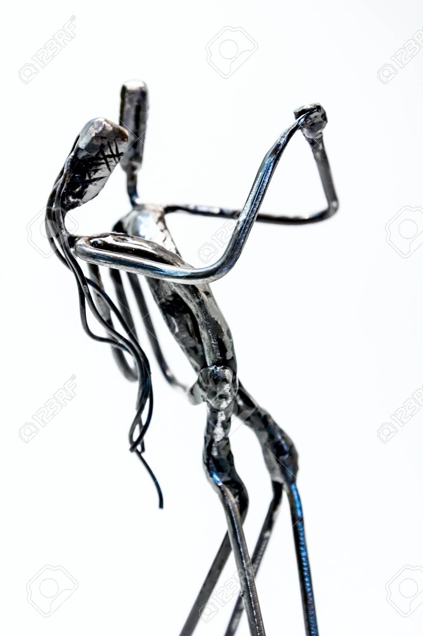 Figures Of Performers Made With Welded Black Metal Wire. Dancers ...